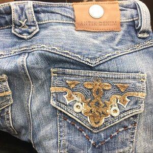 Antik Denim Distressed Embellished Blue Jeans 28